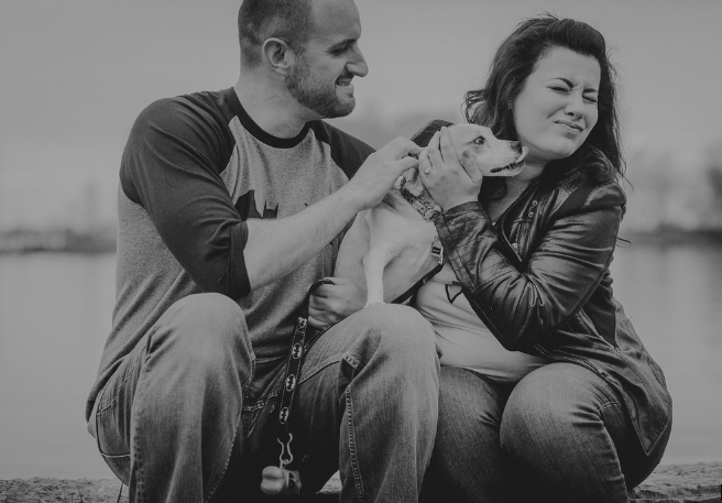 Toronto Waterfront Engagement Photos with dog