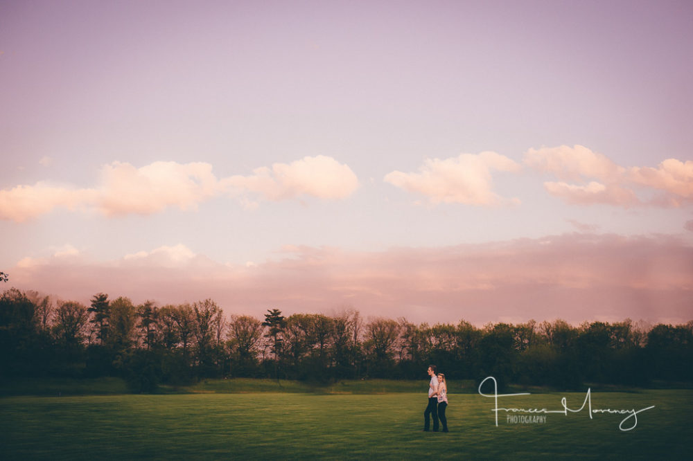 Sunset engagement photography in fields