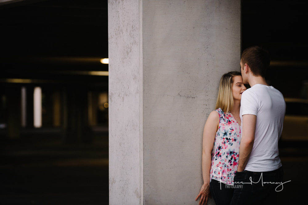 Engagement photography in parking garages