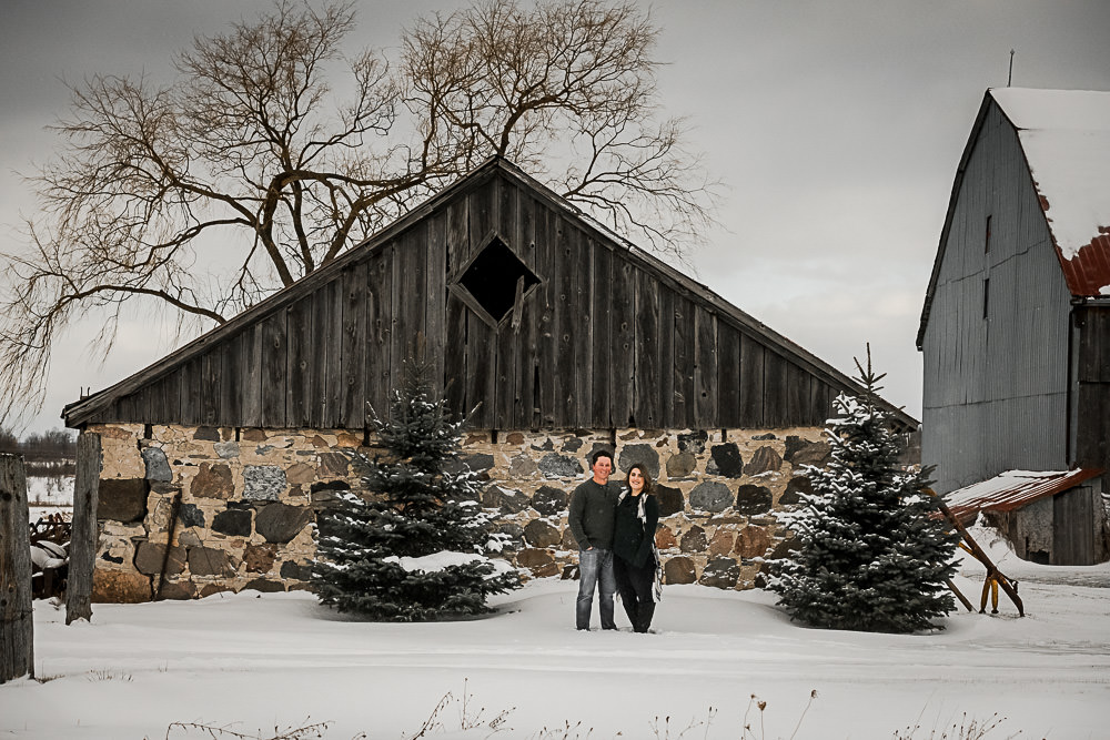 farm scene with engagement couple in Owen Sound, Ontario
