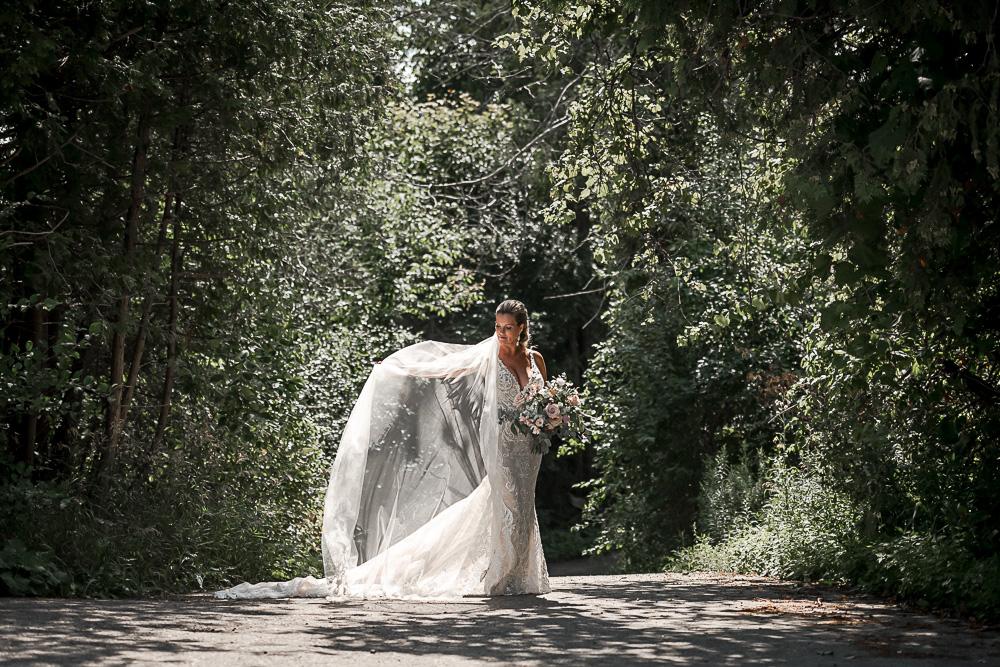 backlight portrait of bride and veil