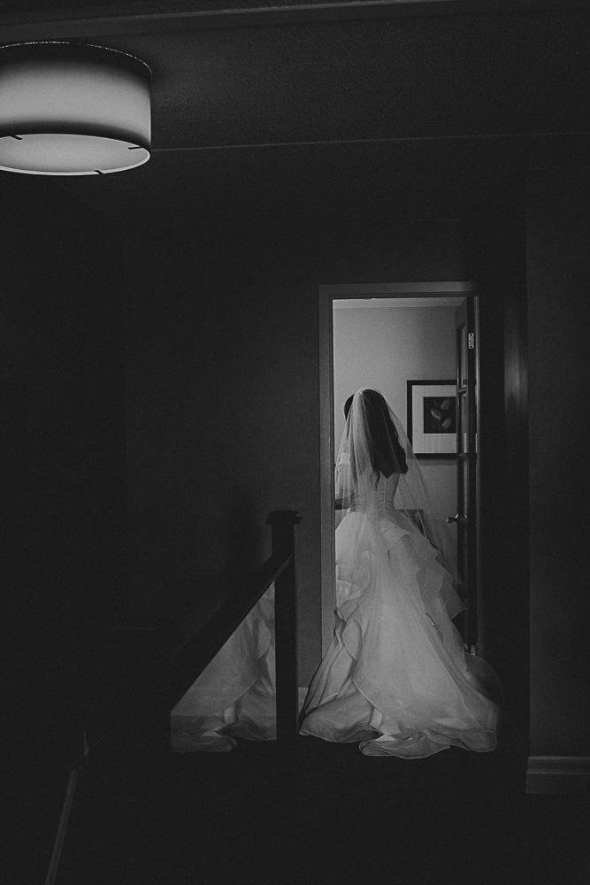 bride walking away