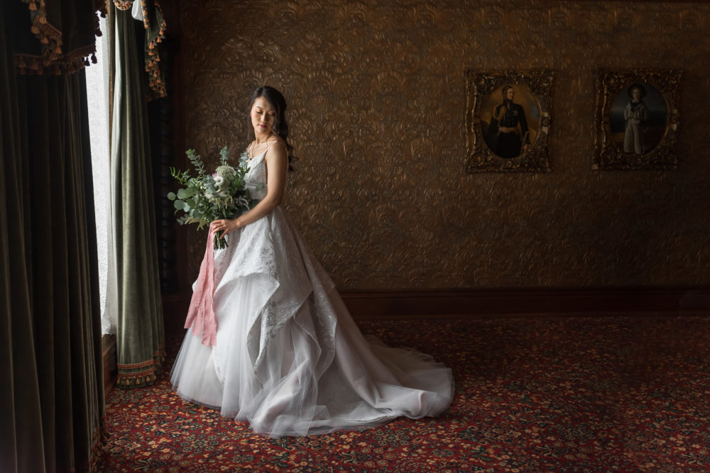 bridal portrait with window light