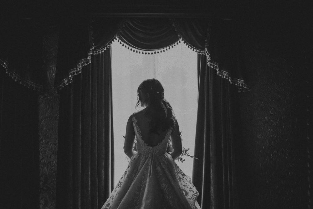 window light portrait with bride
