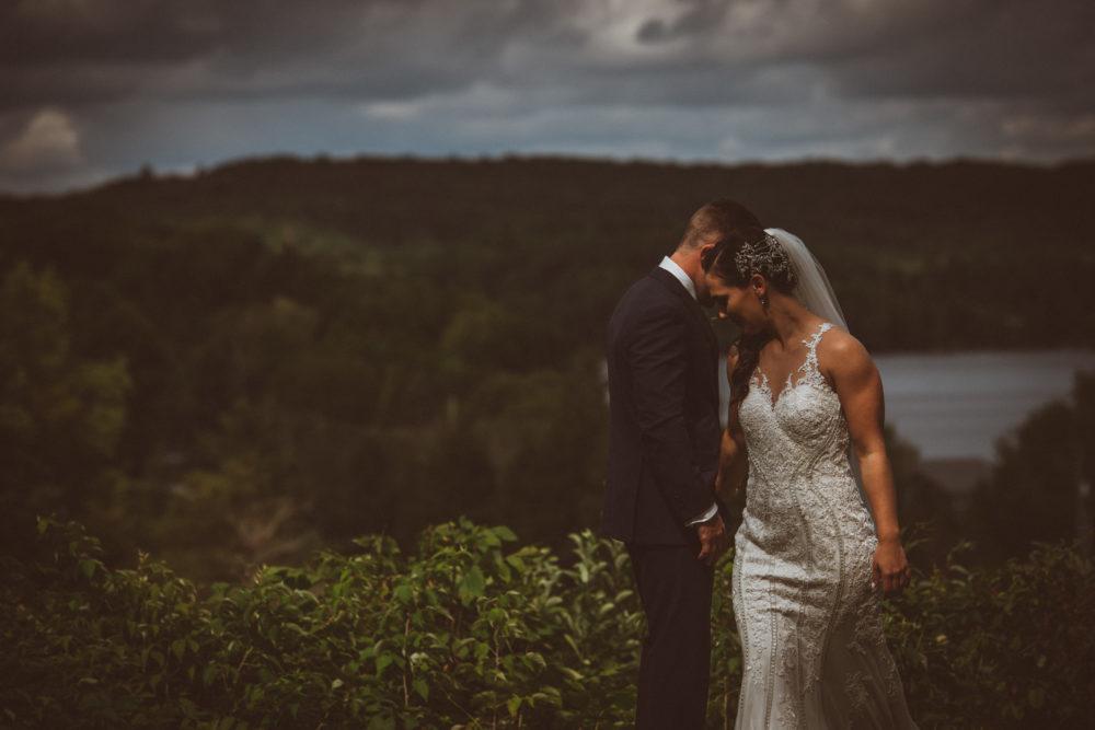 bride groom with lake view at Deerhurst Resort