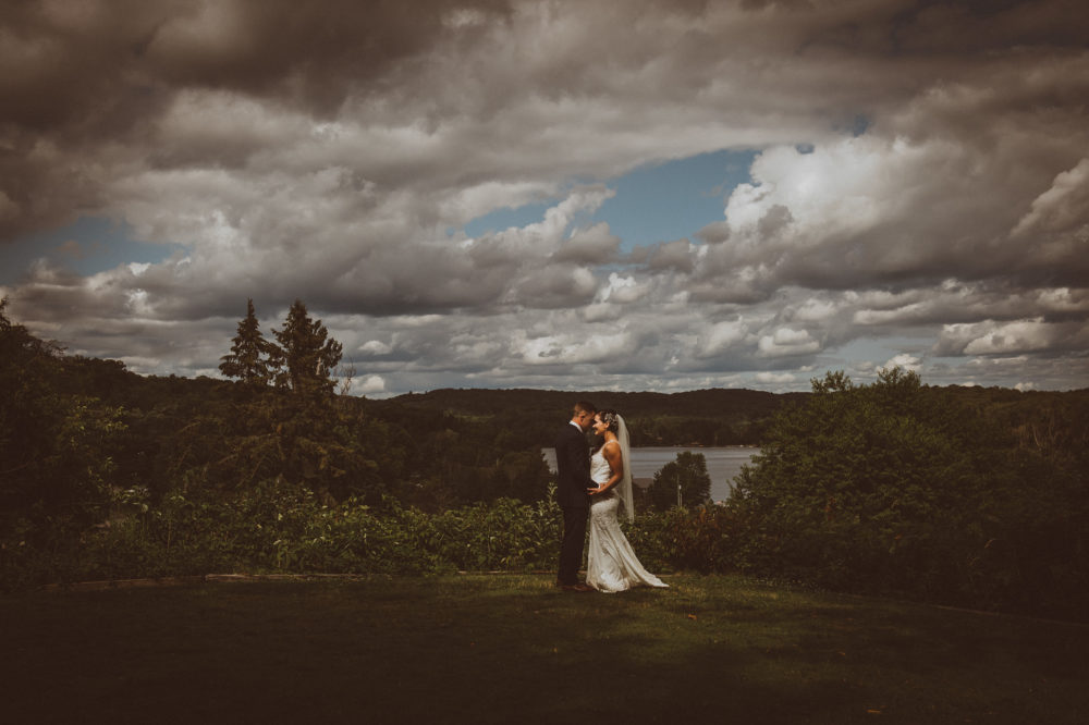 landscape portrait with bride and groom