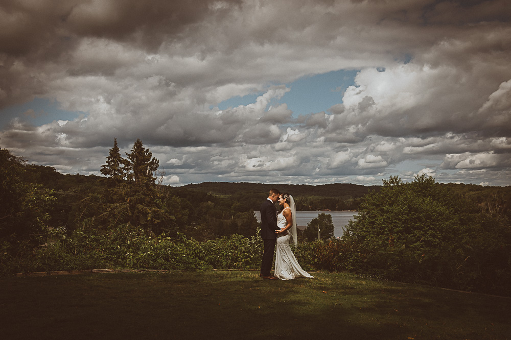 weddingscape with bride and groom at Deerhurst
