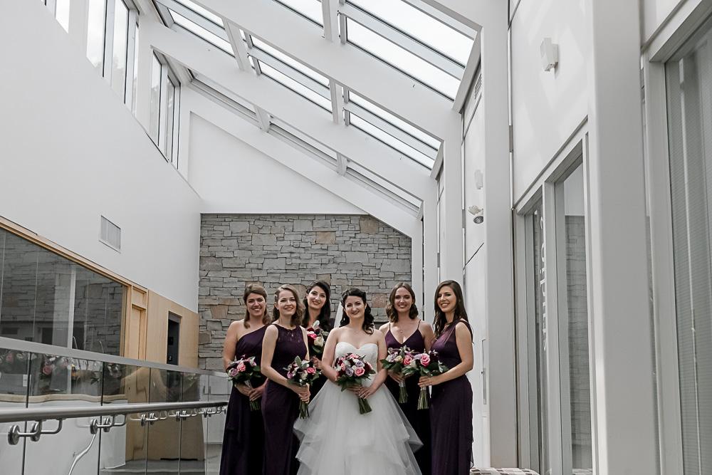 purple dresses on bridesmaids