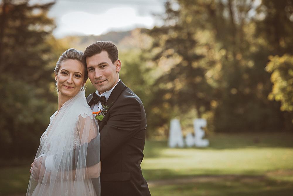 camera aware wedding portrait