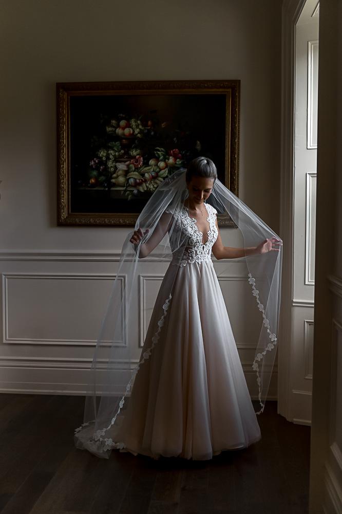 bridal portrait in window light